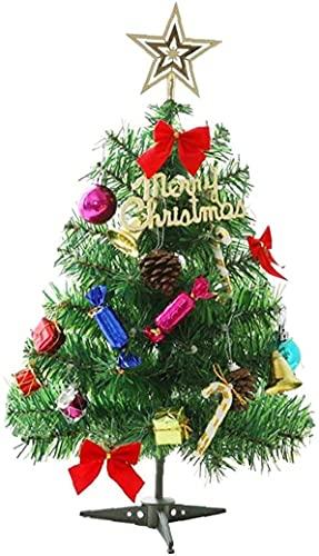 JYHZ Decoraciones de Navidad, Simulación de Escritorio Árbol de Navidad, con DIRIGIÓ Luces de Cadena y Decoraciones, árboles de Navidad de Pino en Miniatura, con Copas y Adornos en Forma de Estrella.