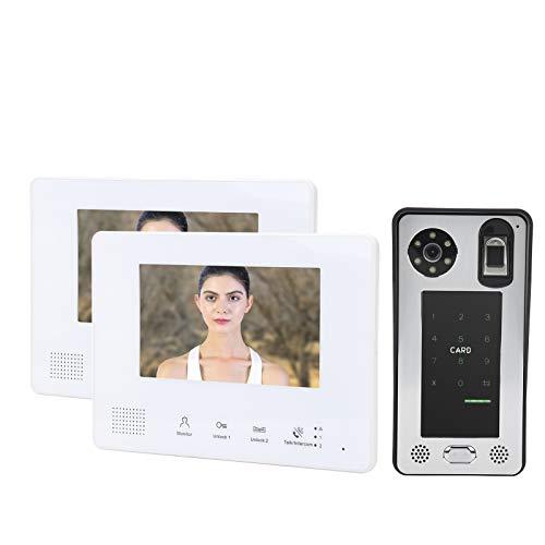 Videoportero, videoportero compatible con 500 huellas dactilares Fuente de alimentación integrada 6 monitores interiores Sistema de 2 cables para control de acceso doméstico
