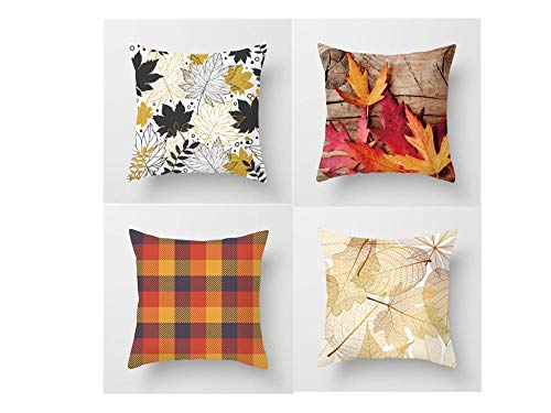 Jwqing Pack of 4 Decorative Pillow Covers Autumn Maple Leaf Pattern Square Cushion Cover Throw Pillow Covers Home Decor for Sofa Bedroom-C_60x60cm(Cushion_Cover)