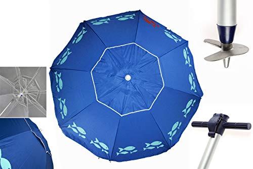 Pincho Sombrillas Playa 2m Aluminio UPF+50 99% UV Punta de Aluminio Reforzado 16 Varillas-Anti torsión (Azul Peces)