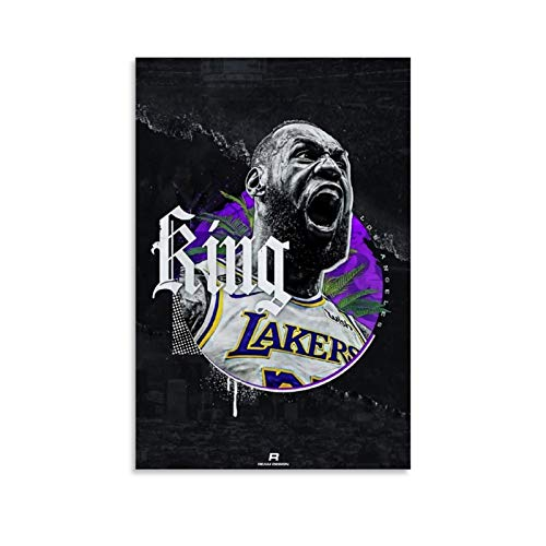 Basketball Poster Superstar King LeBron-James Sport Poster Canvas Wall Art Waterproof Posters Pictures Paintings Decorative Artwork for Bedroom Home Office Ready to Hang 20x30inch(50x75cm)
