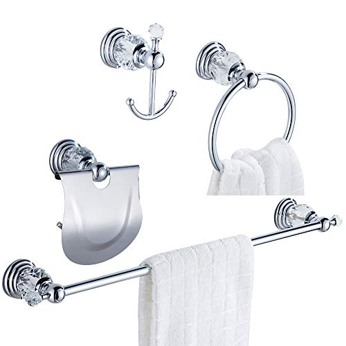 WOLIBEER Chrome Bathroom Accessories, Towel Holder Set Includes Crystal 24 Inch Towel Bar Toilet Paper Holder Towel Ring and Robe Hook 4 Pieces Silver Bathroom Hardware Wall Mount
