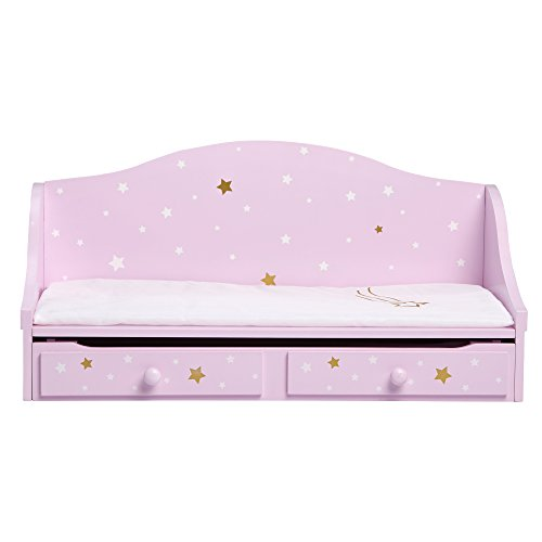 Olivia's Little World - 18' Doll Wooden Furniture, Twinkle Stars Doll Trundle Bed, fits American Girls, Purple/Gold