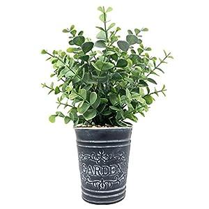 Lifelike Artificial Greenery Boxwood Evergreen Shrubs in Farmhouse Theme Vintage Decorative Tin Pot, Home, Office, Hotel, Restaurant, Lobby, Porch Decoration (Boxwood)