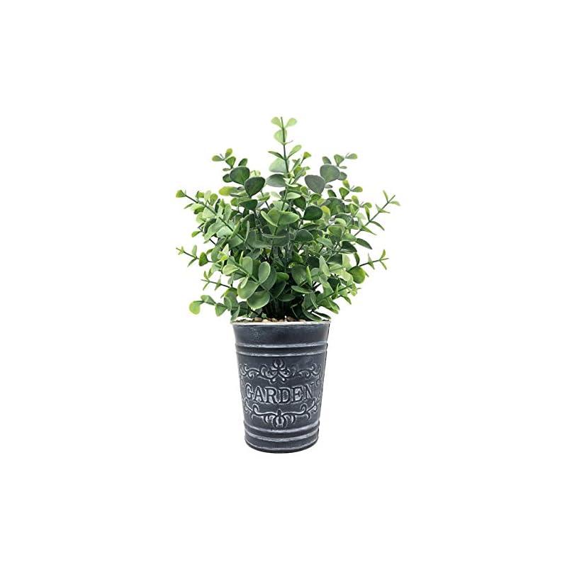 silk flower arrangements lifelike artificial greenery boxwood evergreen shrubs in farmhouse theme vintage decorative tin pot, home, office, hotel, restaurant, lobby, porch decoration (boxwood)