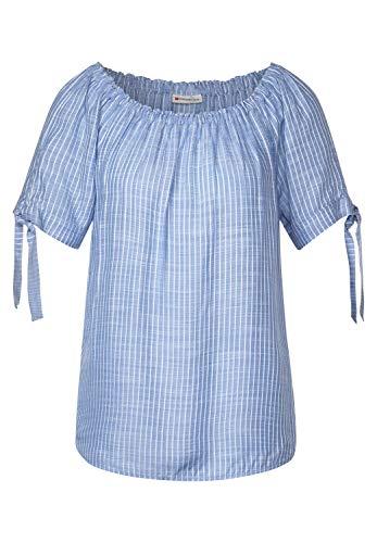 Street One Damen 342114 Carmenbluse mit Streifen Bluse, original Blue, 46