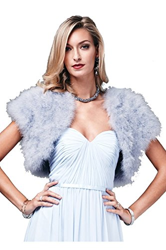 Mascara Feather Shrug FK042 Silver with capped sleeves One Size