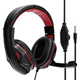 Cuifati On‑Ear Headphone,Gaming Headset Wired Over The Ear Headphones Stereo with Microphone 3.5mm Jack,Over The Ear Headphones Wired Hi-Fi Stereo Foldable Over-Ear Headsets