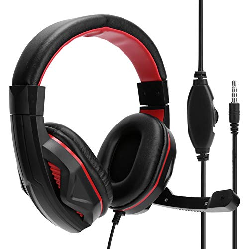 PC13 bedrade gaming-headset, met PU-leer beklede over-ear stereohoofdtelefoon met microfoon 3,5 mm-aansluiting, HIFI stereo dubbele audiomotor voor professioneel computer pc-spel, zwart