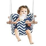 COSTWAY Babyschaukel mit Kissen, Baby Schaukelsitz mit längenverstellbares Seil, Kinderschaukel Holz, Holzschaukel bis 60kg belastbar, Türrahmen Schaukel für Baby von 6 bis 36 Monaten (Blau)