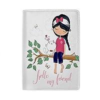 Zhigua パスポートカバー パスポートケース スキミング防止 軽量 レザー調 防水 木の猫座る少女 ビジネス 海外旅行 航空券 名刺 クレジットカード 多機能収納ポケット 出張 旅行用品 男女兼用