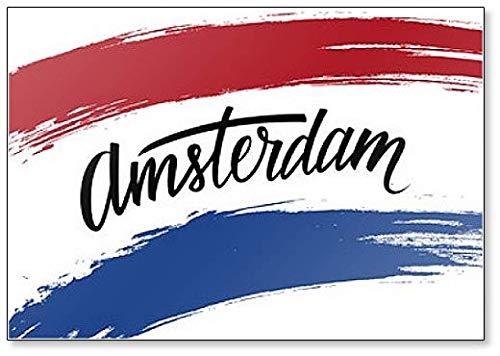 Inscriptie Amsterdam en penseelstreken in kleuren van de nationale vlag van Nederland koelkastmagneet