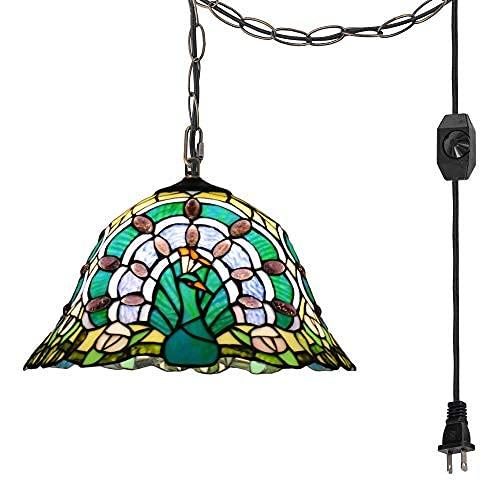 Lámpara colgante sin cableado portátil Tiffany estilo Peacock forma colgante luz vidriera estilo barroco..