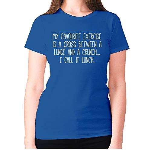 Camiseta divertida para mujer, diseño con texto en inglés 'My Favourite Ejercicio es una cruz entre un lunge y un crunch'. Azul azul M