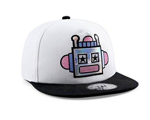 True Heads Casquette de Baseball Blanche Snapback de Robot Design