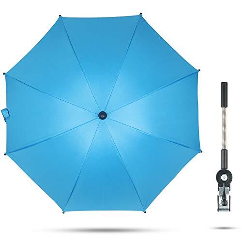 Fengzio Universal Sonnenschirm für Kinderwagen & Buggy 75 cm Durchmesser Kinderwagen Regenschirm mit Sonnenschutz und Regenschutz funktional UV Schutz 50+ und 360°Drehung - Blau