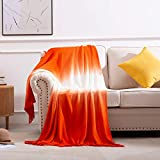 SPAOMY Gradual Gradient Ombre Super Soft Throw Blanket with Tassels for Couch Warm Cozy Lightweight Decorative Fluffy Blanket for Sofa Bed Chair Living Bed Room(50x60 Inch, Orange Red)