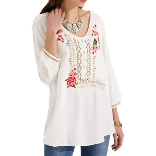 Camisa de Jersey de Mujer con Estampado de Bordado a la Moda Tendencia de Personalidad cómoda Camisa de Primavera y Verano de Todo fósforo Tops XL