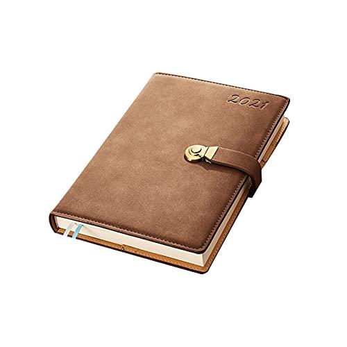 HBR - Diario per scrivere in formato A5, con copertina rigida, in pelle, con bottone in metallo e tasca per penne, perfetto per studenti d affari (colore marrone)