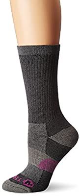 Merrell womens 1 Pack Cushioned Lightweight Hiker Crew Casual Sock, Black, Shoe Size 4-10 US