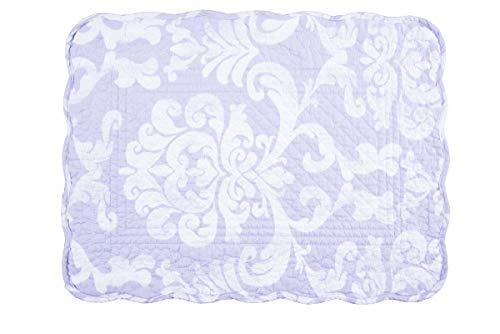 C&F Home Alexa Placemat Set of 6 Lavender White Place Table Mats Rectangular Cotton Quilted Reversible Washable Placemat Rectangular Placemat Purple