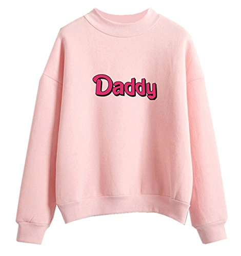 Fashiononly Teen Girls Sweatshirts Kawaii Sweater Pink Pastel Daddy Harajuku Pullover Hoodie Blouse Tops, M