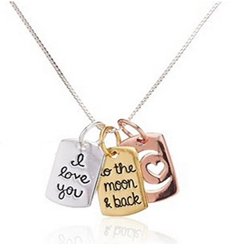 I Love You To The Moon & Back Pendant Necklace Jewellery Tri Colour Silver Rose Gold