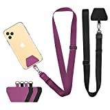 Doormoon Cell Phone Lanyard, Wonder Universal AdjustablePhone Neck Strap Lasso Leash for Smartphone Safety Tether System, 2 Pack, Black Purple