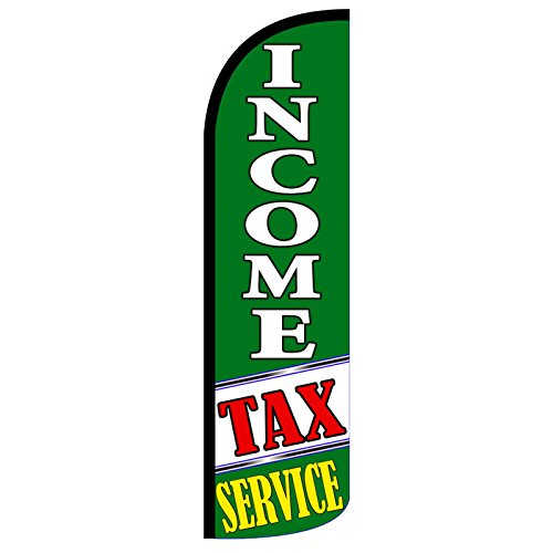 """NEOPlex -""""Income Tax Service"""" 12-Foot King Size (WINDLESS) Swooper Feather Flag (Flag Only)"""