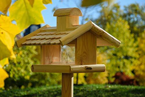 dobar 21277e Klassisches Vogelhaus groß aus Holz mit Futter-Silo, 38 x 38 x 30 cm - 7