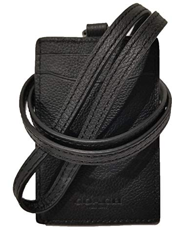 Coach Sport Calf Leather Lanyard ID Badge Holder F31657, Black / Antique Nickel, One Size