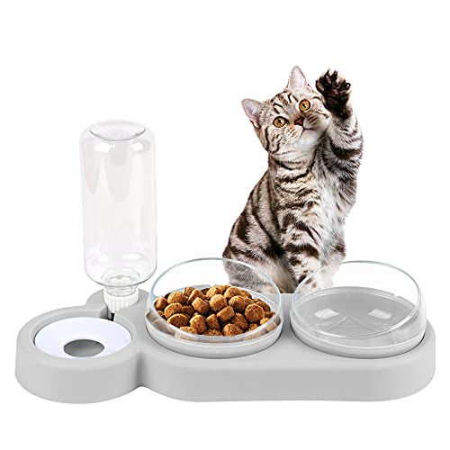 MOPOIN Katzen Futternapf, 3 in 1 Katzennapf 15°Gekippte Fressnapf Katze Anti-Erbrechen Katzenschüssel mit Wasserspender, Doppelnapf für Katzen und Kleine Hunde (Grau)