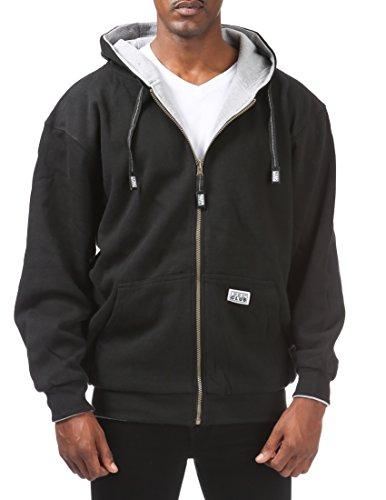 Pro Club Men's Full Zip Reversible Fleece and Thermal Hoodie, Large, Black/Heather Gray
