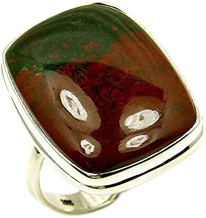 Large Sterling Silver Spring new work one after another Rare Natural 10.25 Trust Size Ring Bloodstone