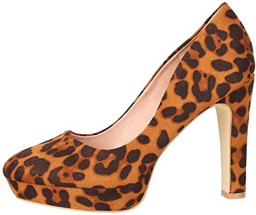Elara Damen Pumps High Heels Vintage Abendschuh Chunkyrayan E22360-Leopard-36