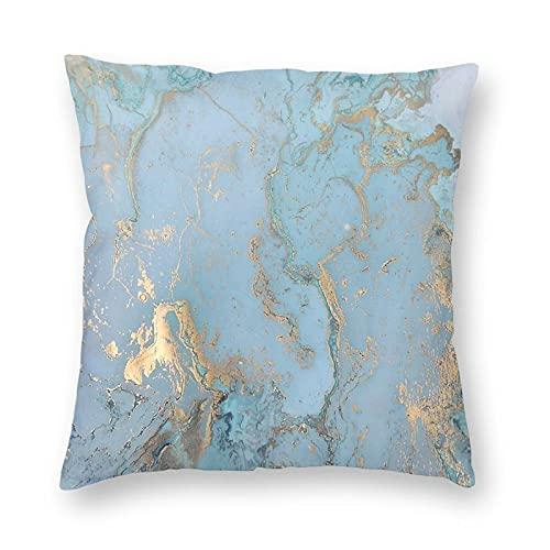 WH-CLA Plaid Silver Marble Efecto de diseño Blanco Escritura de Muy Buen Gusto Azul Turquesa Clásico Teal Check Marmoleado Funda de cojín Impresión para la Familia, 45x45cm