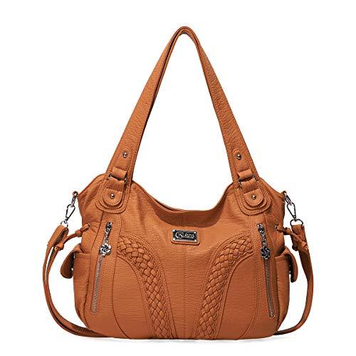 KL928 Damen Handtasche Leder Taschen Umhängetaschen Schultertaschen Henkeltaschen Hobo Tasche Weiches Damentasche für Frauen (1555-brown)