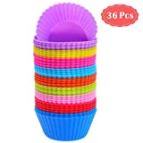 Silicone Cupcake Baking Cups, Anezus 36 Pack Silicone Baking Cups Reusable Silicone Muffin Liners Cupcake Cups for Muffins, Cupcakes and Candies