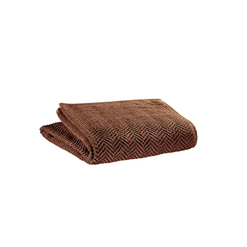 Vivaraise - Drap de Bain Roberto - 100x180 cm - Serviette de Plage, Spa, Piscine, hammam - Liteau Grande Taille - Tissu éponge Absorbant - 100% Coton - Motif Chevrons