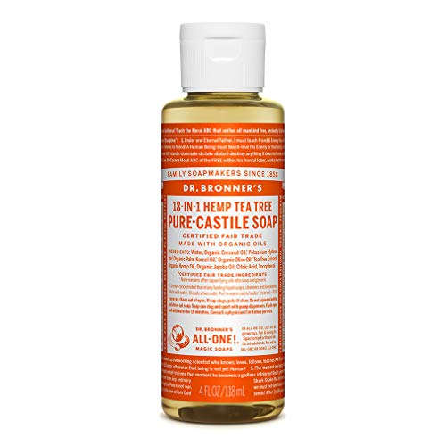 Dr. Bronner's - Pure-Castile Liquid Soap (Tea Tree, 4 ounce) - Made with Organic Oils, 18-in-1 Uses: Acne-Prone Skin, Dandruff, Laundry, Pets and Dishes, Concentrated, Vegan, Non-GMO
