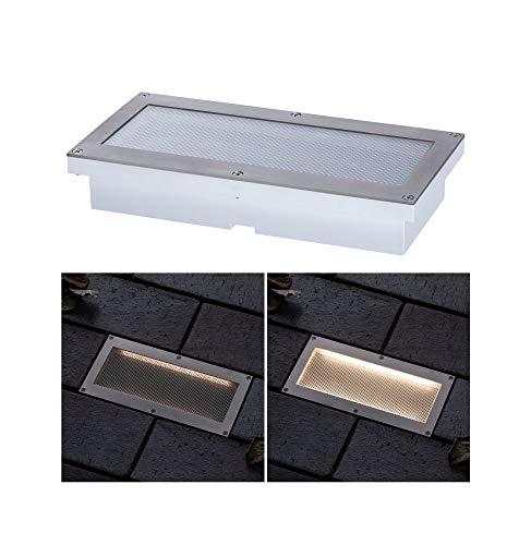 Paulmann 94239 Solar Bodeneinbauleuchte Aron LED Außenleuchte eckig incl. 1x1,5 Watt Schwarz Edelstahl, Kunststoff 3000 K Warmweiß, 1.5 W