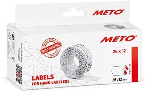 Meto Etiquetas para etiquetadoras manuales (26 x 12 mm, 1 línea, blanco, 6000 unidades, adherencia permanente, para Meto, Contact, Sato, Avery, Tovel, Samark, etc.) 6