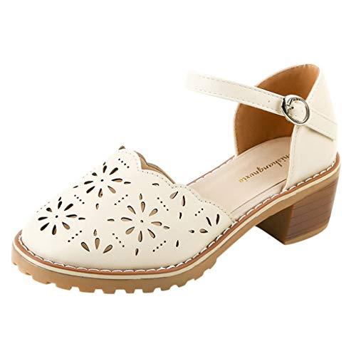 HOUMENGO Bailarinas de Cuero Nobuck para Mujer, Sandalias De Zapatos De Cuero De TacóN Cuadrado Ahuecado Diario Casual