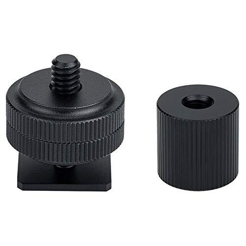 JJC Adaptador para zapata de agua fría con tornillo de 1/4, tuercas de bloqueo doble + adaptador de tuerca de barril para 1/4'-20 macho/hembra, para trípode de micrófono SmallRig Magic Arm 1498 1497