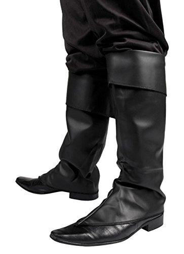 Boland 81996 - Stiefelstulpen, Schwarz, Stiefeletten, Synthetikleder, Pirat, Musketier, Bandit, Räuber, Accessoire, Motto Party, Karneval
