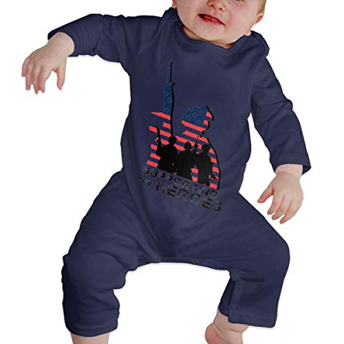 Happiness Station Support My Heroes Memorial Day American Flag Baby Playsuit Long Sleeve Outfits Infant Boys Girls Rompers 0-24 Months Babies Jumpsuit Clothes Kids Playsuits Toddlers Outfits