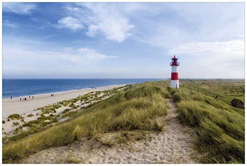 Wallario Acrylglasbild Am Strand von Sylt Leuchtturm auf der Düne Panorama - 60 x 90 cm in Premium-Qualität: Brillante Farben, freischwebende Optik