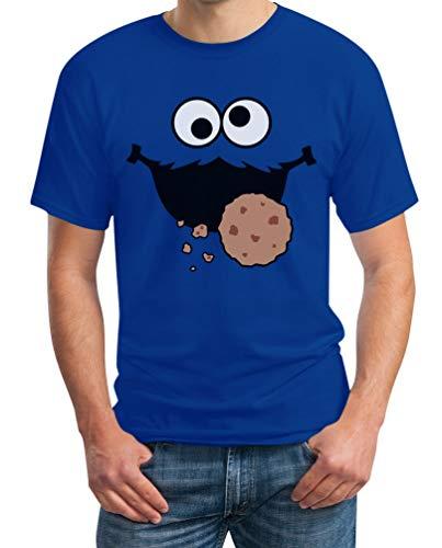 Karneval & Fasching Keks-Monster Krümel Kostüm Herren T-Shirt Large Blau