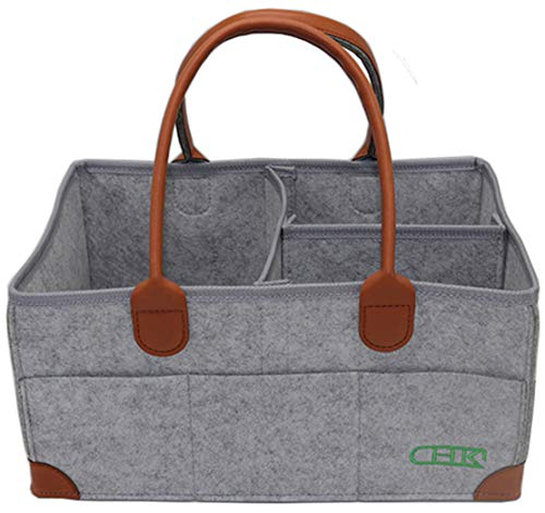 Foldable Baby Diaper Caddy Organizer by CHK - Premium Travel and Car Basket for Diapers in Soft Grey Felt - Portable Nursery Storage for Newborn Boy or Girl - Large Changing Table Cloth Holder Caddie