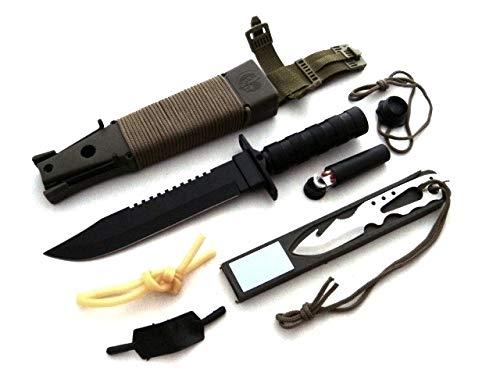 KOSxBO® XXL Outdoor Survival Set mit Holster, Paracord Schnurr - Erste Hilfe Pflaster - Extra Messer, Werkzeug - Streichhölzer - Kompass - Steinschleuder für Camping, Prepping, Hunting